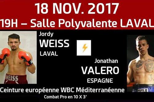 Jordy Weiss affrontera Jonathan Valero le 18 novembre 2017.