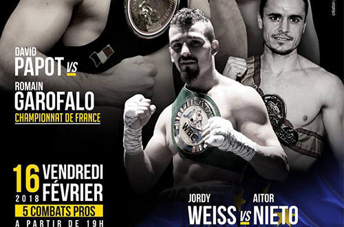 Jordy Weiss affrontera Aitor Nieto le 16 février 2018